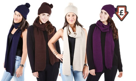 Knitted Hat and Scarf Set in Choice of Colour from £5.99