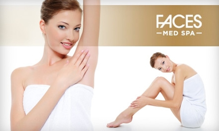 Faces Med Spa - Multiple Locations: $185 for Three Laser Hair-Removal Treatments at Faces Med Spa (Up to $825 Value)
