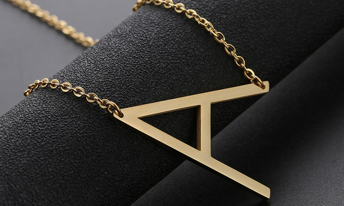 Up To 84 Off On 18k Gold Plated Initial Necklace Groupon Goods