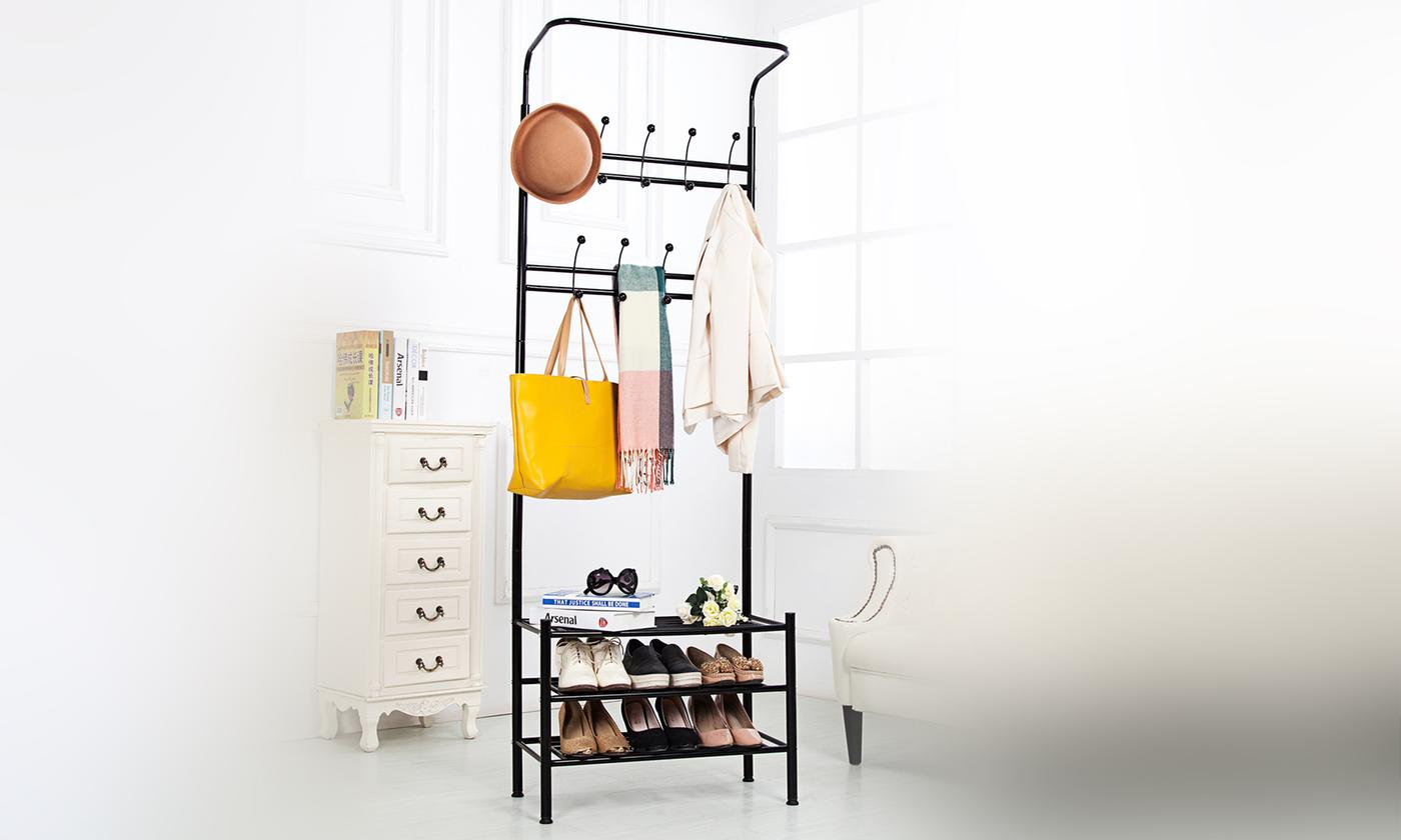 vivo coat stand with built-in shoe rack
