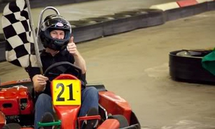 Track 21 - Houston: $26 for Two Indoor Go-Kart Races, Two Games of Laser Tag, and Two Sodas at Track 21 (Up to $56.70 Value)