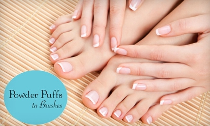Powder Puffs to Brushes - Mount Pleasant: $45 for a Spa Mani-Pedi ($90 Value) or $15 for a Eyebrow Waxing and Shaping Treatment ($30 Total Value) at Powder Puffs to Brushes in Mt. Pleasant