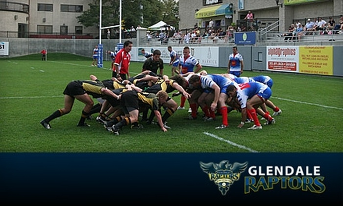 Glendale Raptors - Glendale: $12 for Two Tickets to a Glendale Raptors Rugby Match, Two Large Popcorns, and Two Large Sodas at Infinity Park Stadium ($25.50 Value)