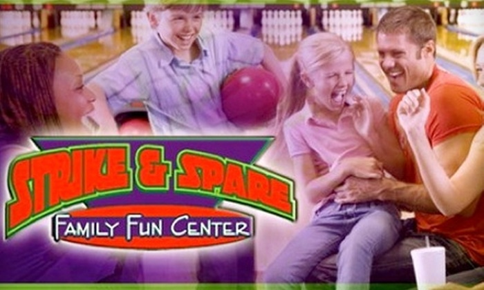 Strike & Spare Family Entertainment - Multiple Locations: $5 for Two Games and Shoe Rental at Strike & Spare Family Entertainment ($12 Value)