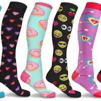 Groupon.com deals on Fun and Expressive Compression Socks 3 Pairs