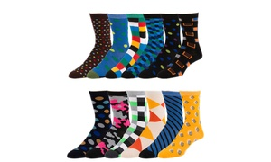 Men's Bright and Bold Cotton-Blend Socks (12 Pairs)