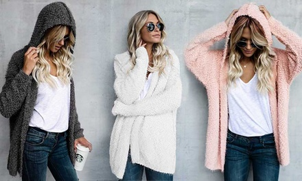 One or Two Women's Fluffy Hooded Cardigans