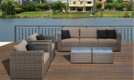 Wicker patio furniture 5 pc set groupon goods for Outdoor furniture groupon