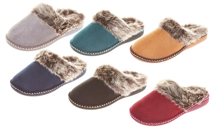 0e939053429 Floopi Women s Faux Fur Lined Clog Slippers with Memory Foam