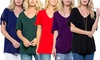 Acting Pro Women's V-neck Top w/ Short Sleeves. Plus Sizes Available.