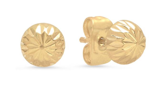 14K Gold 6MM DC Ball Stud Earrings