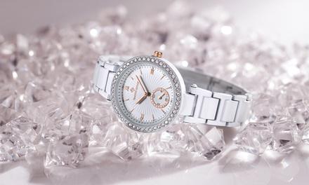 Armbanduhr für Damen mit Kristallen von Swarovski® verziert in Schwarz oder Weiß inkl. Versand (79% sparen*)
