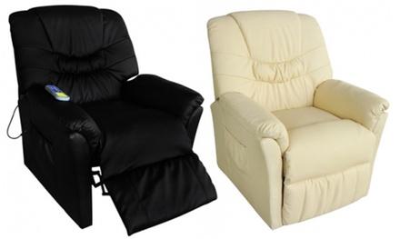 Fauteuil relaxant massant Blanc ou Noir en simili cuir, 10 points de massage pour le corps