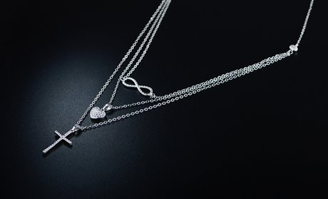 Diamond Accent Triple Strand Necklace in 18K White Gold