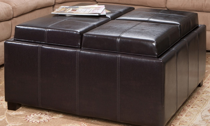 Harley Four Tray Top Storage Ottoman Coffee Table Groupon