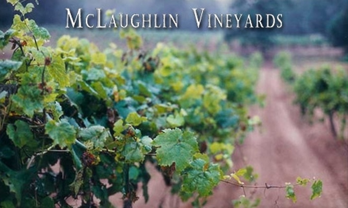 McLaughlin Vineyards - Newtown: $17 for a Wine Tasting for Two, Two Wine Glasses, and One Bottle of Wine at McLaughlin Vineyards ($34 value)