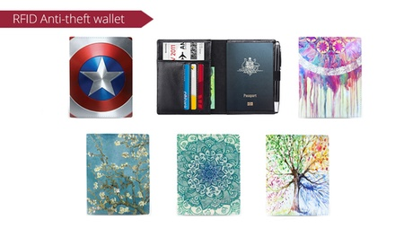Printed Genuine Leather Passport Holder: One $19 or Two $29