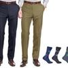 Braveman Slim-Fit Dress Pants with Free Pair of Argyle Socks