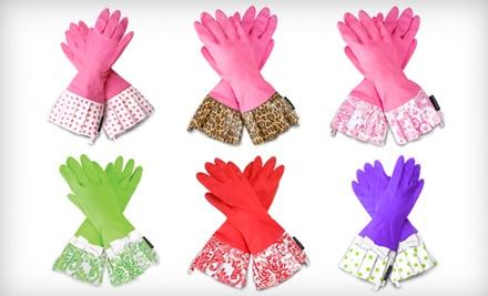 Pink Gloves with a Leopard Cuff - Retro Kitchen Gloves in