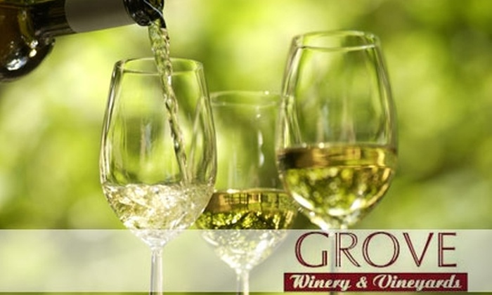 Guilford County's Grove Winery and Vineyards  - Washington: $9 for a Wine Tasting for Two with Souvenir Glasses and Two Glasses of Wine at Guilford County's Grove Winery and Vineyards ($18 Value)