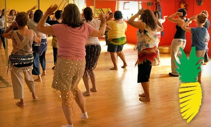 Pineapple Dance Studio - Forest Park: $30 for Four Belly-Dance Classes ($72 Value) or $20 for Four Zumba Fitness Classes ($40 Value) at Pineapple Dance Studio in Forest Park
