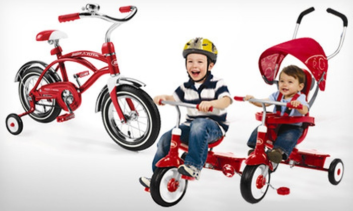 Radio Flyer Classic Cruiser Bike or 4-in-1 Tricycle: Radio Flyer Classic Red 12-Inch Cruiser Bike or 4-in-1 Grow-With-Me Trike (Up to 51% Off) Valid in Contiguous U.S. Only.