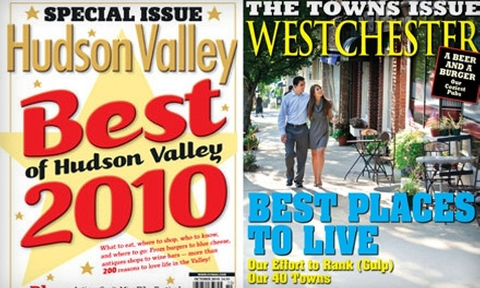 "Westchester Magazine and Hudson Valley Magazine - Westchester County: $7 for a One-Year Subscription to ""Hudson Valley"" Magazine ($14.97 Value), or $9 for a One Year Subscription to ""Westchester"" Magazine and ""Westchester Home"" ($26.97 Value)"