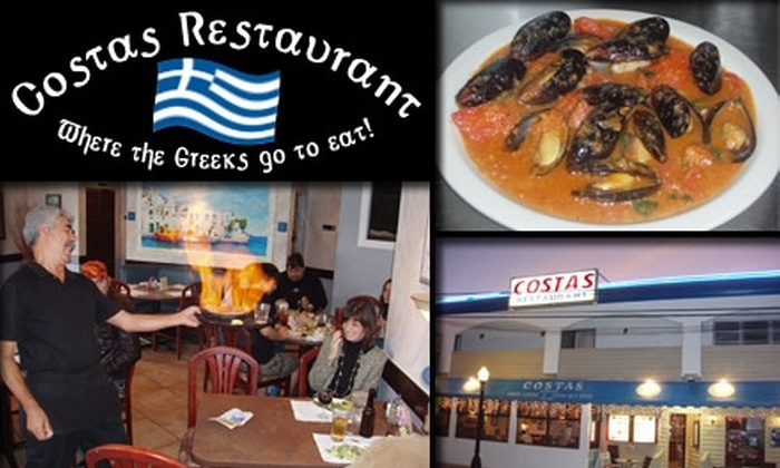 Costas Restaurant - Tarpon Springs: $12 for $30 Worth of Greek Dishes and Seafood at Costas Restaurant