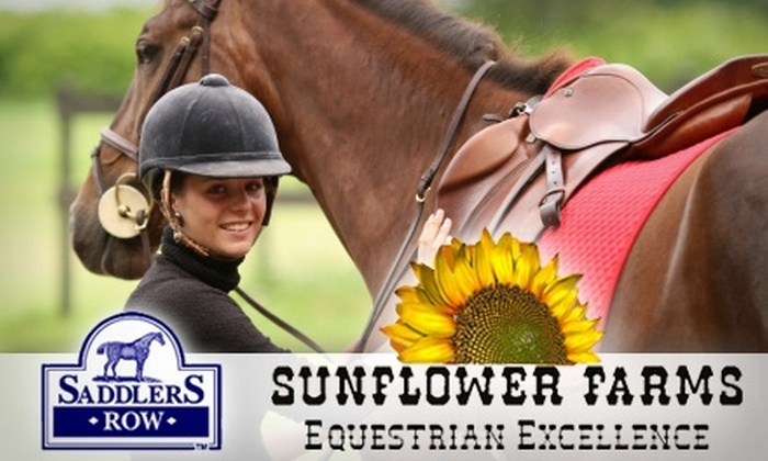 Sunflower Farms - Multiple Locations: $55 for a Two-Hour Horse-Riding Lesson Plus Helmet at Saddlers Row and Sunflower Farms ($130 Value)