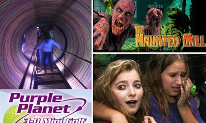 The Haunted Mill & Purple Planet - Belmont: $10 for One Admission to The Haunted Mill and One Day of Unlimited 3-D Glow-in-the-Dark Mini Golf at Purple Planet (Up to $20 Value)