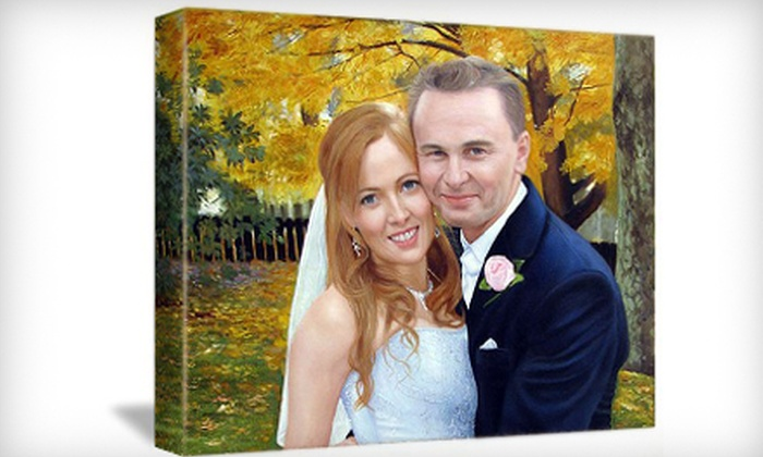 """Canvas Memories: $89 for a Photo Converted to 14""""x14"""" Oil Painting from Canvas Memories ($254.25 Value)"""