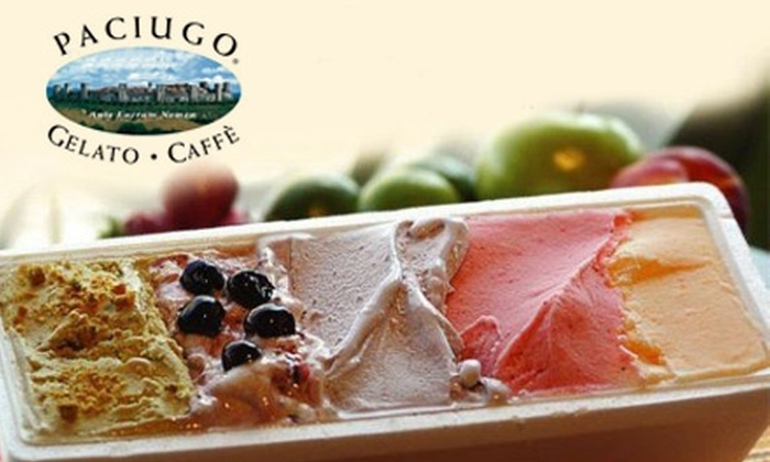 Paciugo - Multiple Locations: $5 for $10 Worth of Gelato, Coffee, and More at Paciugo