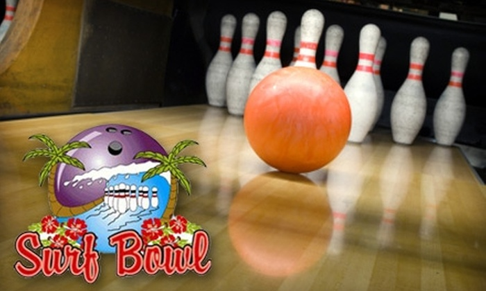 Surf Bowl - San Diego: $50 for a Family Bowling Package at Surf Bowl in Oceanside ($125 Value)