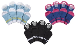 Pet Socks with Rubberized Micro Grips (4-Pack)