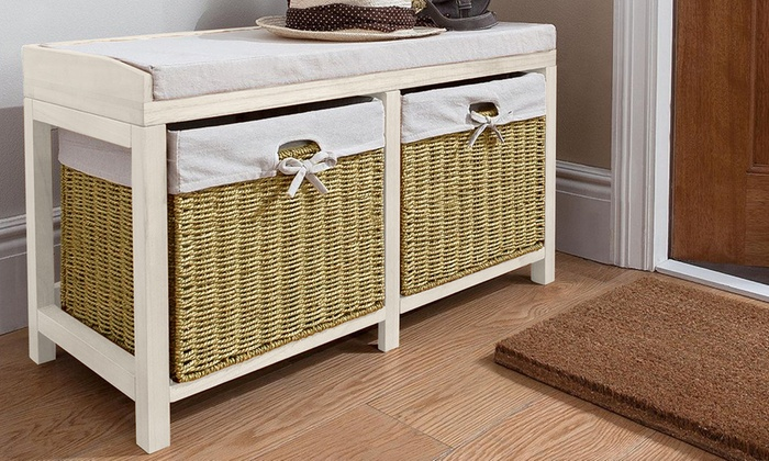 Storage Bench With Two Wicker Baskets Free Delivery
