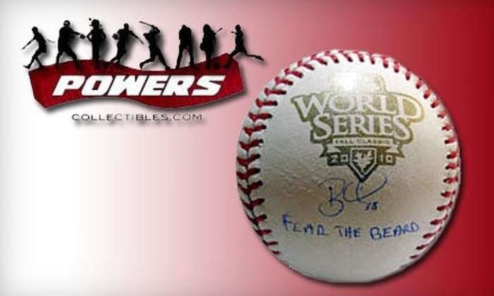 "Powers Collectibles: $119 for One 2010 World Series ""Fear the Beard"" Brian Wilson Autographed Baseball, Including Shipping, from Powers Collectibles ($239 Value)"