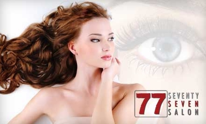 77 Salon - Pearl: Half Off Hair Services, Eyelash Extensions, or Aesthetic Services at 77 Salon. Choose from Three Options.