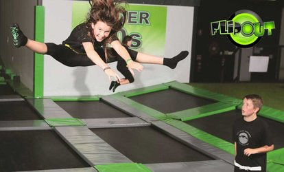 Trampoline Park: 1 Hr - 1 ($9), 2 ($18) or 3 Ppl ($35), 2 Hrs - 1 ($15), 2 ($30) or 3 Ppl ($59) at Flip Out Christchurch