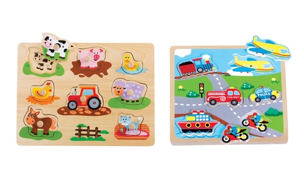 Lelin Wooden Vehicle/Farm Puzzle