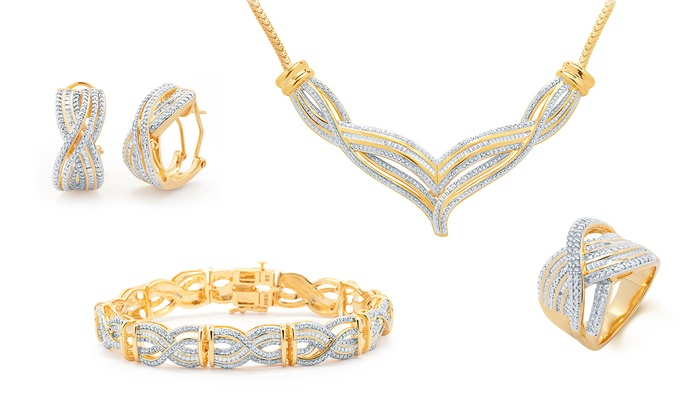 1 00 CTTW Diamond Jewelry Set in 14K Gold Plating 4 Piece