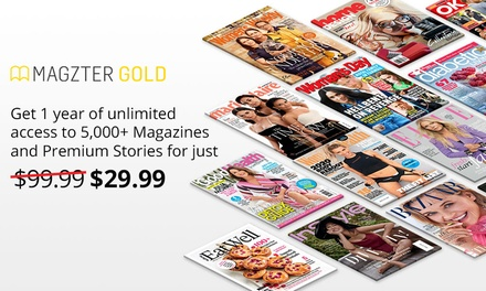 $29.99 for 12 Months of Unlimited Online Magazines from Magzter (Don't Pay $99.99)