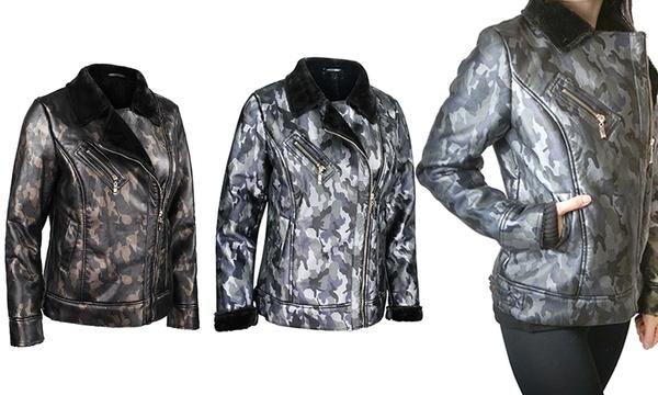 Camouflage-Jacke mit Rippbündchen Taillenlänge Jacke kurz Damen Camouflage