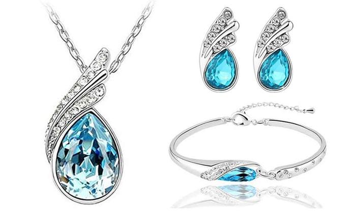 6f013f97dc9e29 Set di 3 gioielli Ocean Blue con cristalli Swarovski®