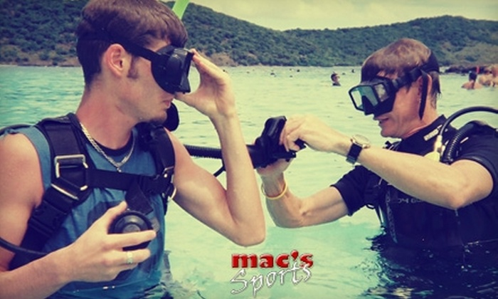 Mac's Sports - Multiple Locations: $129 for a Scuba Certification Course ($349.85 Value) or $89 for a Two-Hour Mermaid-Themed Scuba Experience ($159.95 Value) from Mac's Sports