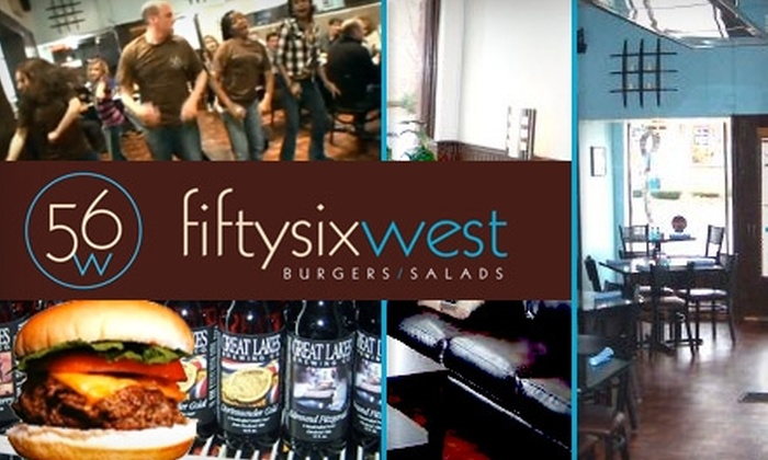 56 West - Lakewood: $9 for $20 Worth of Burgers, Salads, and Drinks at 56 West