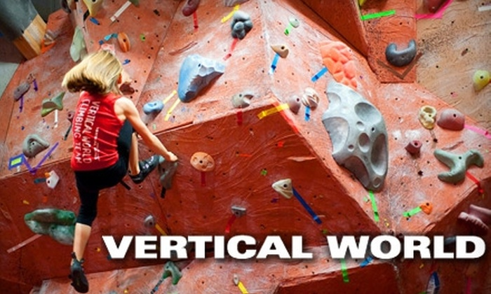 Vertical World - Multiple Locations: $11 for Day Pass and Equipment Rental at One of Four Vertical World Locations ($23 Value) or $8 for Day Pass and Shoe Rental at the Tacoma Location ($17 Value)