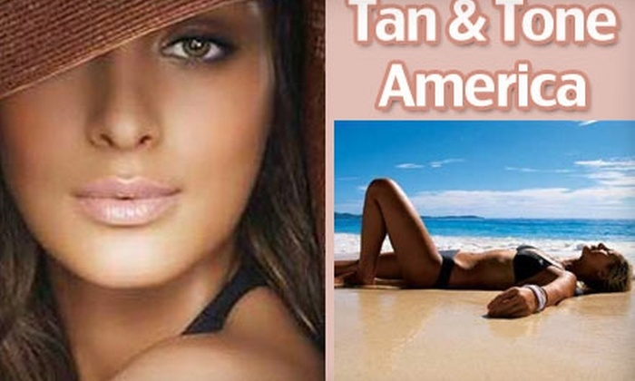 "Tan & Tone America - Multiple Locations: $24 for 24 Day Passes for Tanning and Women's Robotics Exercise (Up to $384 Value) or $29 for Three Spray-On ""Magic Tan"" Sessions ($72 Value) at Tan & Tone America"
