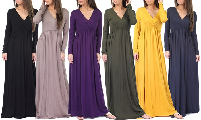 Up To 68 Off On Womens Long Sleeve Wrap Dress Groupon Goods