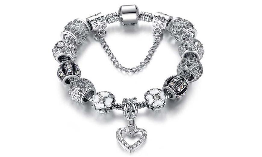 18K White Gold Plated Crystal Heart Charm Bracelet Made with Swarovski  Elements