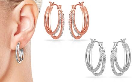 1 o 2 pares de pendientes de aro Philip Jones decorados con cristales Swarovski®